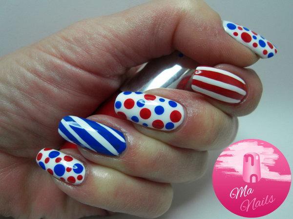 Patriotic Polka Dots and Stipes Nail Art