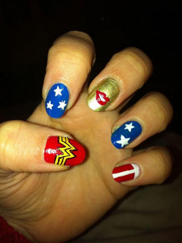 Patriotic Cute Lip Accented Nail Art