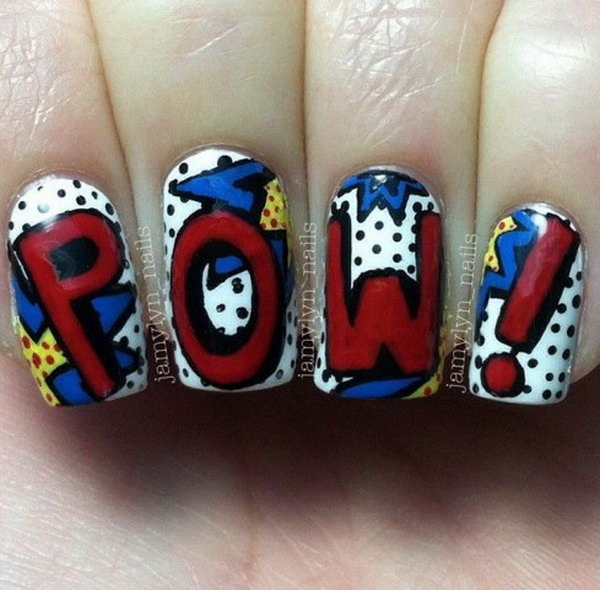 Patriotic Cute POW! Accent Nail Art