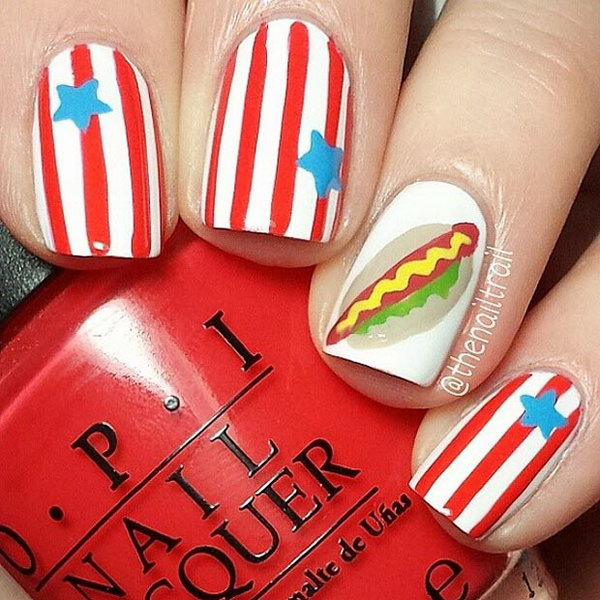American Hot Dog Accent Nail Art