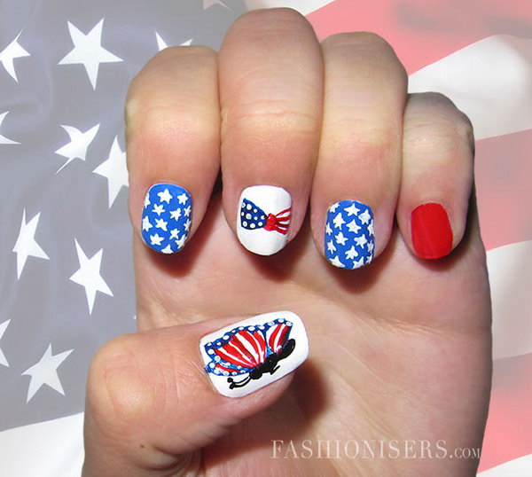 4th of July Butterfly, Bow and Stars Nail Art