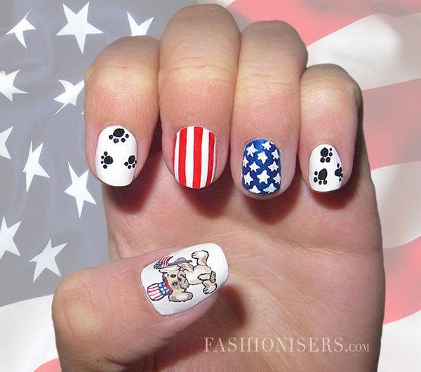 Patriotic Cute Animals Nail Art
