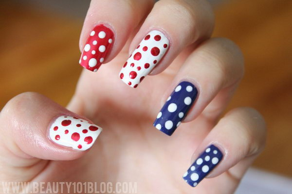 4th of July Patriotic Cute Nail Art