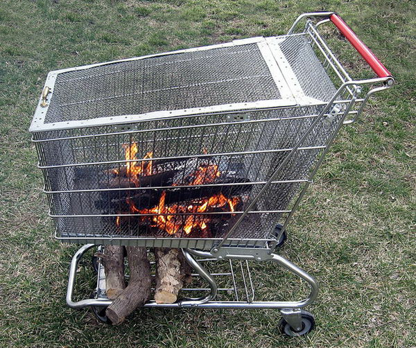 Portable Fire Pit Built in Log Storage Rack