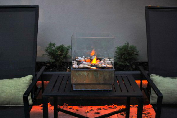 Glass and Metal Mini Fire Pit
