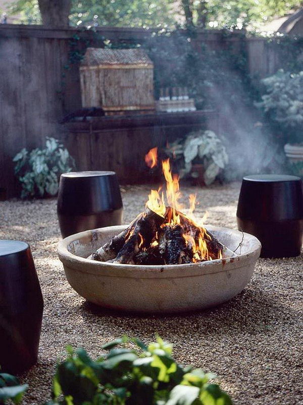 Pictures Of Outdoor Patios With Fire Pits : DIY Outdoor Fire Pit with a Kiddie Pool and Cement
