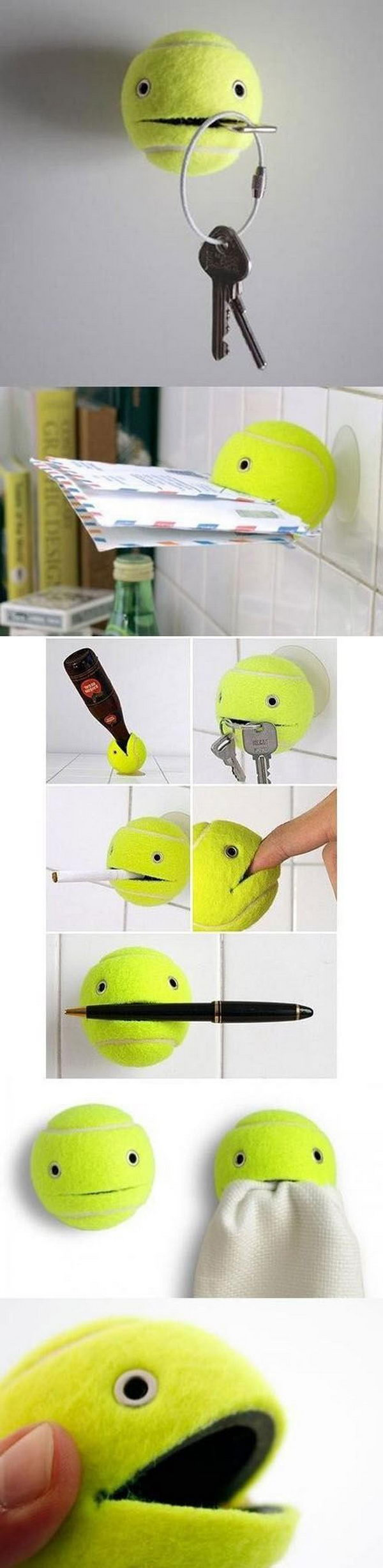 Tennis Ball as a key Holder. A genius idea to DIY a functional, funny and adorable key holder with a tennis ball. See the tutorial