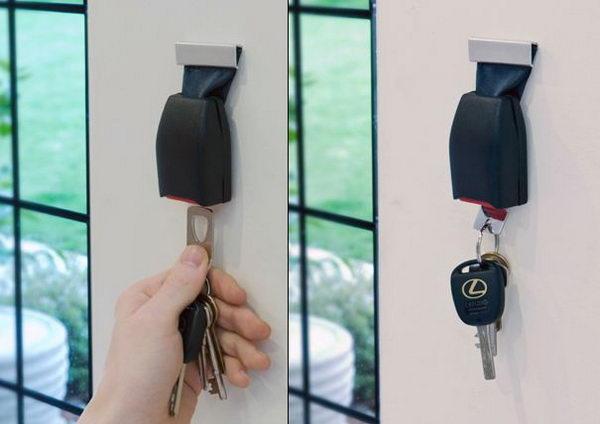 Upcycled Seat Belt Buckle Key Holder.