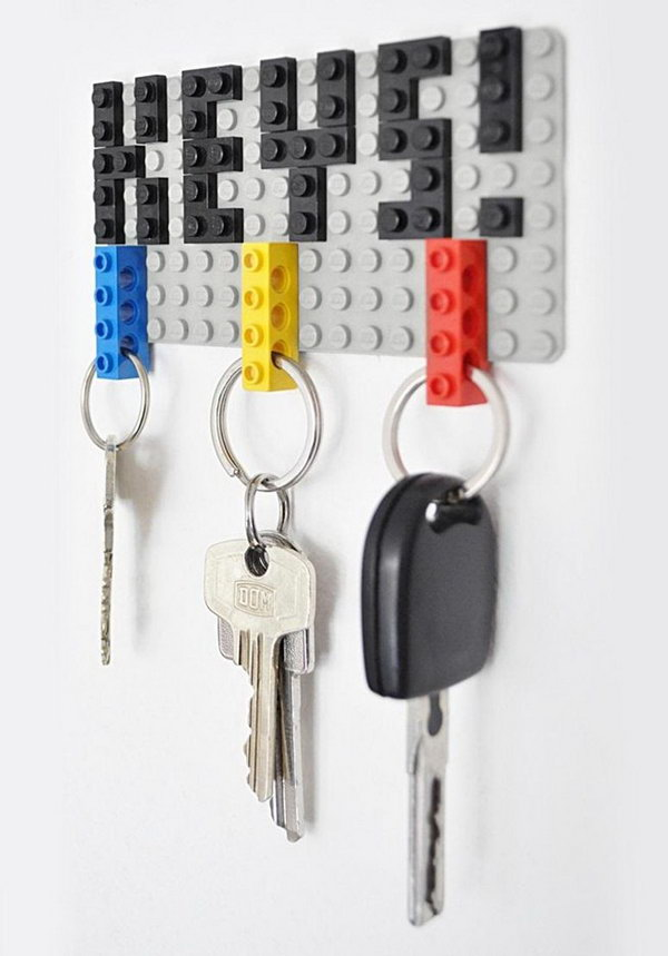 Lego Key Holder. This is one of the simplest and also coolest DIY key holders I've seen so far. All you need are a couple of Lego pieces to create your own customizable Lego key holder with an amazing visual effect. See more details