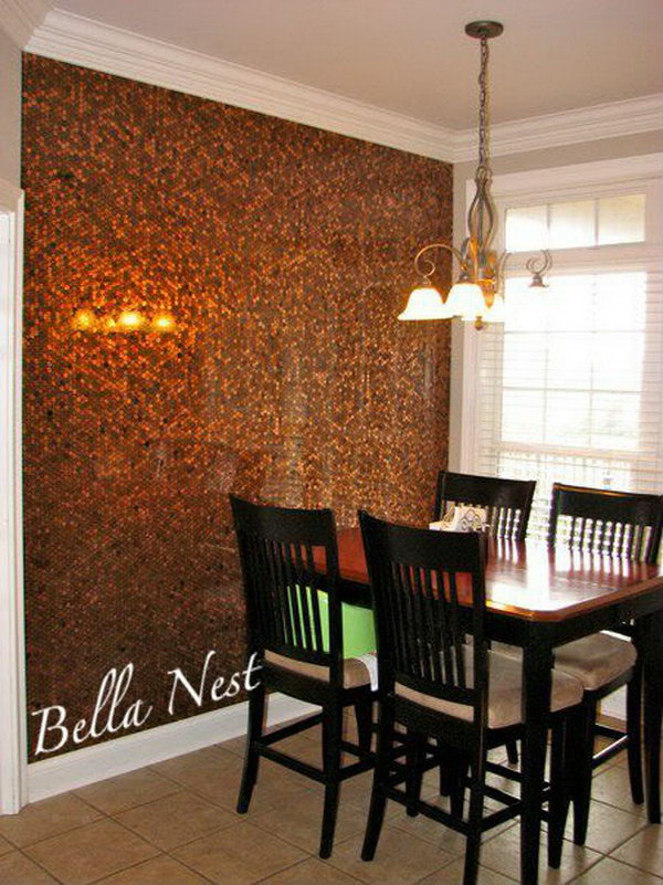 DIY Penny Wall. Tiling a wall with pennies can be a tedious and time consuming task, but the effort is worth it if you want your plain white wall with a one of a kind look. If you have a lot of patience, You can have a try with more directions