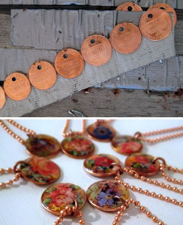 Penny Decal Necklace. One more way to create a necklace with a coin charm. Get more directions