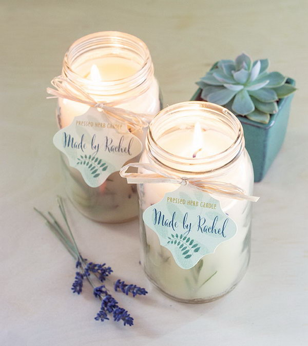 20 easy and usable diy wedding favor ideas hative homemade pressed herb candles junglespirit Gallery