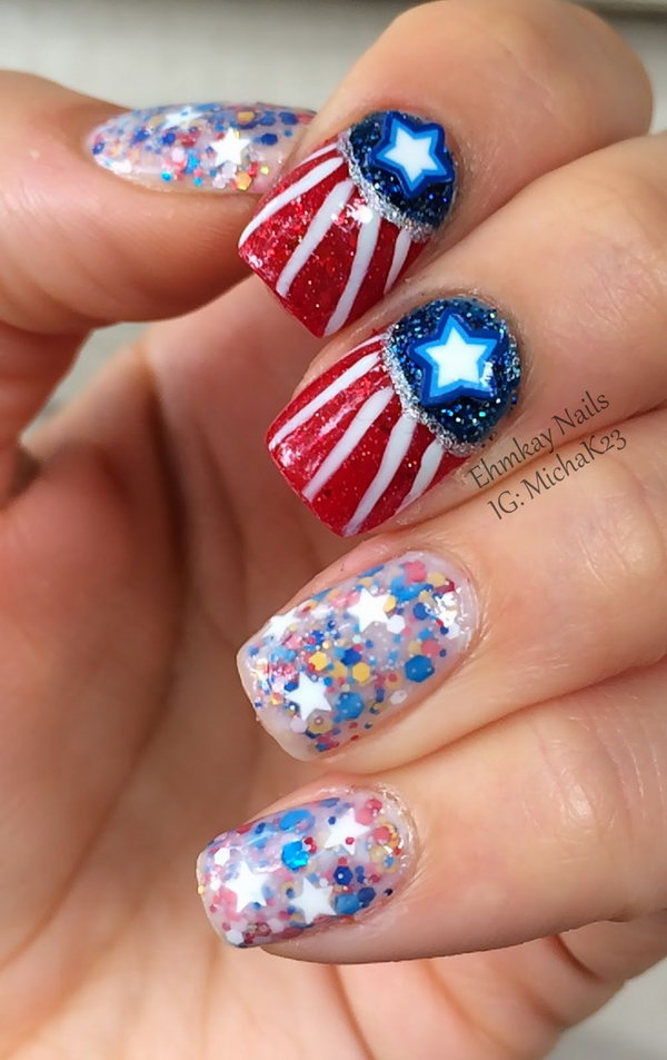 4th of July Glitter Gradient Nails: This nail design is a funky take on stars and stripes inspired nails. The different glitters add more character. With the clever galaxy nails set, you can create a great 4th of July nails look that is beautiful and unique, but totally shows some love on the Fourth of July.