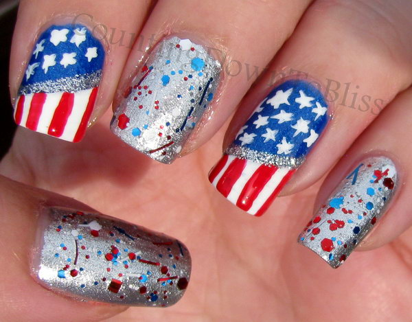 America the Glittery Silver Accented Nail Art