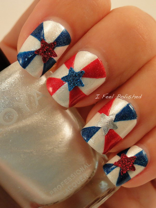 Classic Patterns in Different Style: Start with painting the base plastic beige. Use striping tape to make the nails in a pinwheel type manner. Then add a star to the middle of each nail! See the tutorial here.