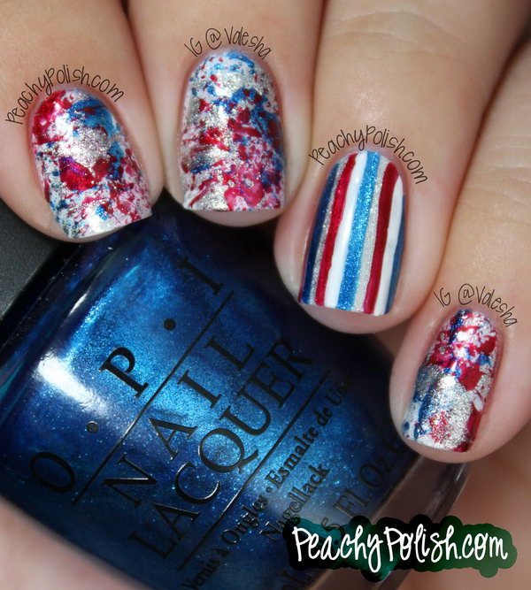 Patriotic Splatter Manicure with a Striped Accent Nail: With the striped accent nail set, you can create a great 4th of July nails look that is just you, but totally shows your pride. And the manicure looks really fancy for the whole summer. See the tutorial here.