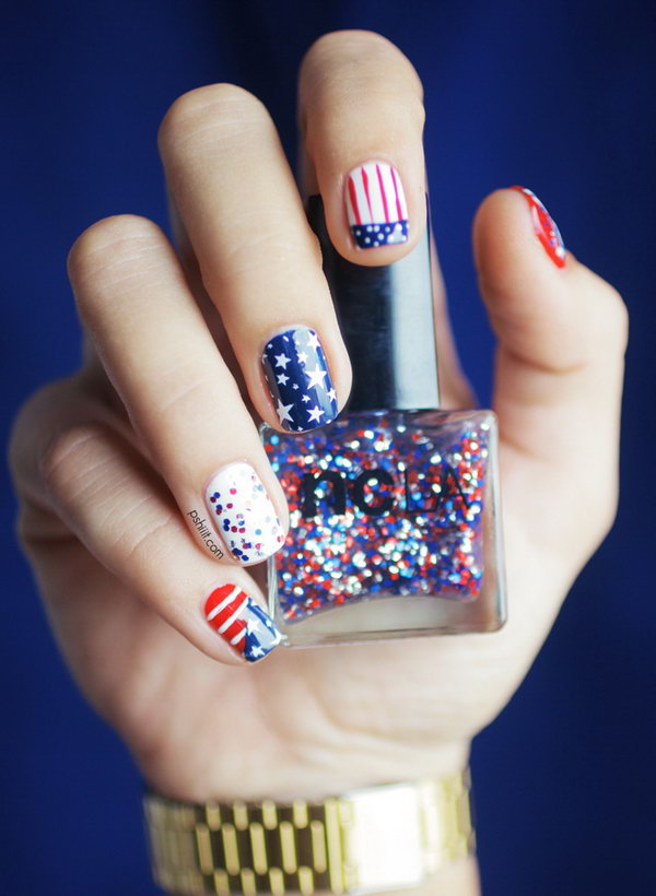 20 Glitter 4th Of July Nail Art Ideas Tutorials Hative