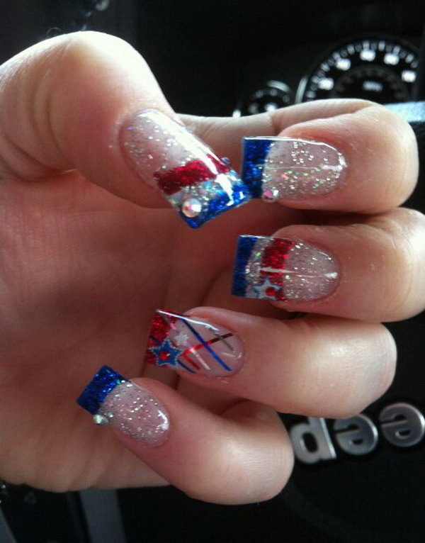 Patriotic French Long Nails