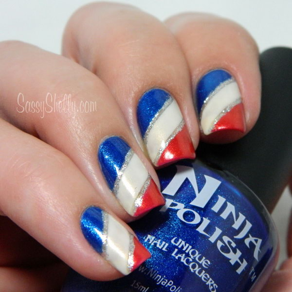 20 glitter 4th of july nail art ideas tutorials hative 4th of july gradient stripes nails the silver lines as accents to the nail design prinsesfo Choice Image