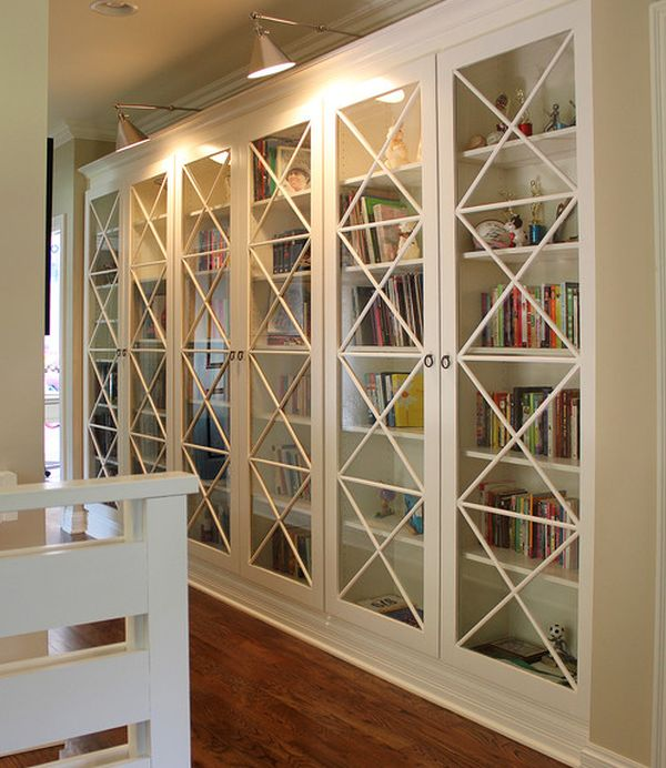 These X Motif Custom Designed Glass Doors Along With Library Lighting Give Bookcases An Inimitable