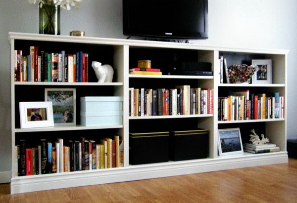 Turn 3 BILLY bookcases from IKEA into an entertainment stand in the living  room. Check - 25 IKEA Billy Hacks That Every Bookworm Would Love - Hative