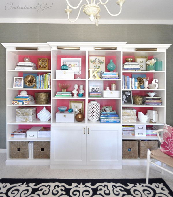 Create a built in bookshelf wall in your living room by mixing and matching  together IKEA - 25 IKEA Billy Hacks That Every Bookworm Would Love - Hative