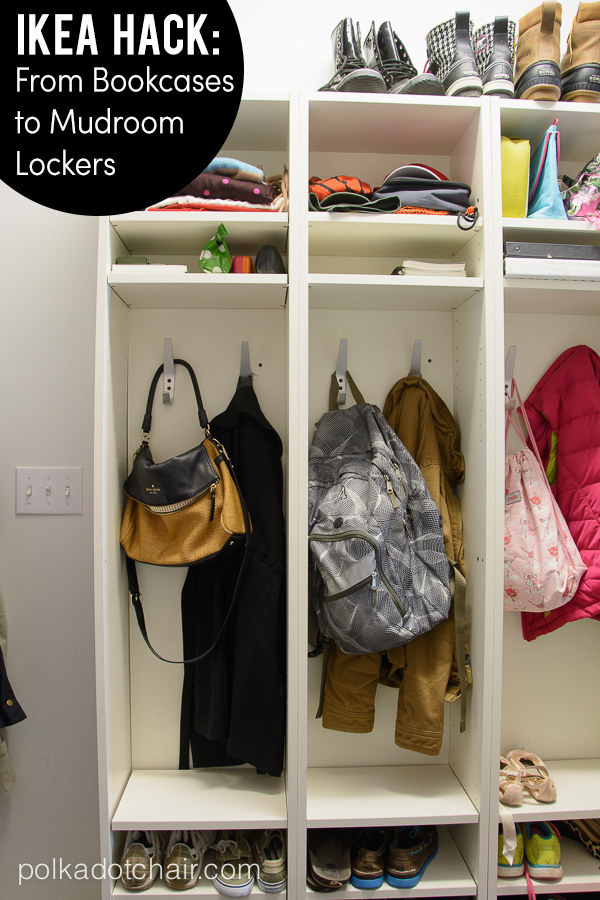 Mudroom Lockers. Organize your mudroom with Ikea bookcases.  Make getting out the door in the morning that much easier! Get the tutorial.