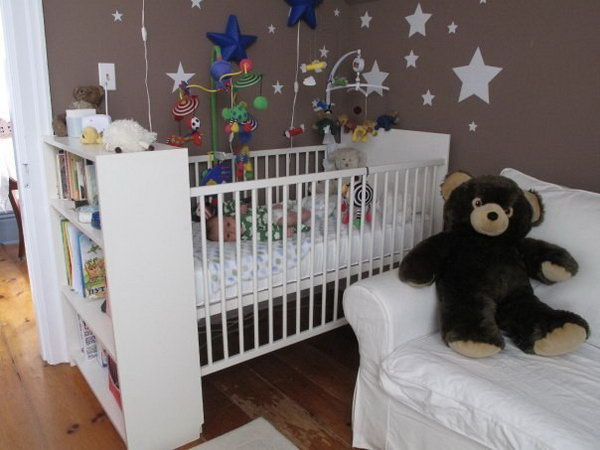Add a BILLY bookshelf to the baby crib. See how they did it