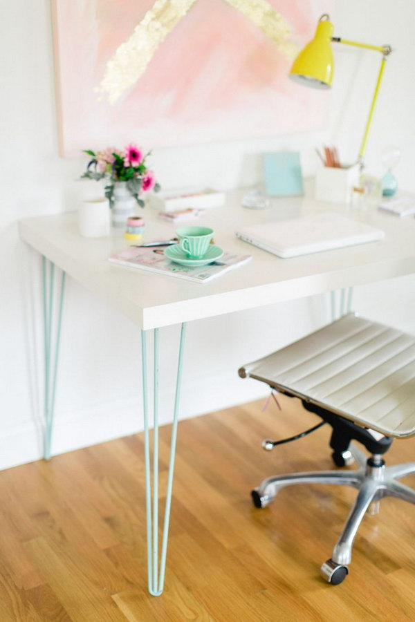 DIY Modern Hairpin Desk