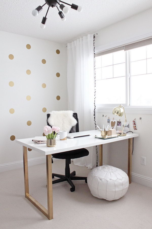 Gold and Girly Home Office Desk