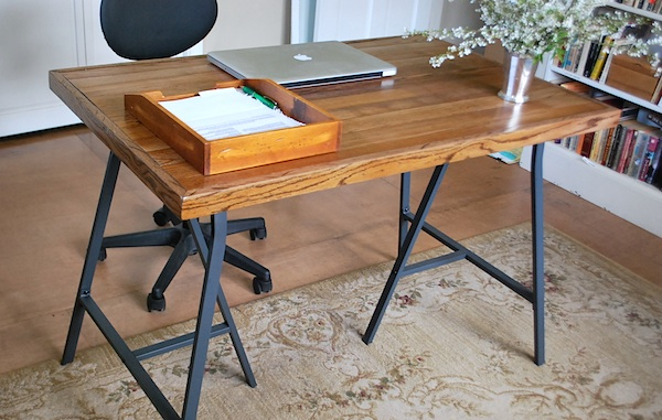 diy desk with ikea trestle legs and old wood flooring - Idea Desks