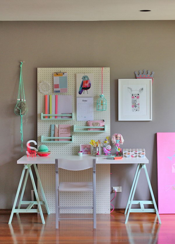 DIY Kid's Study Desk. I love this cheerful study space for kids. See the - 20+ Cool And Budget IKEA Desk Hacks - Hative