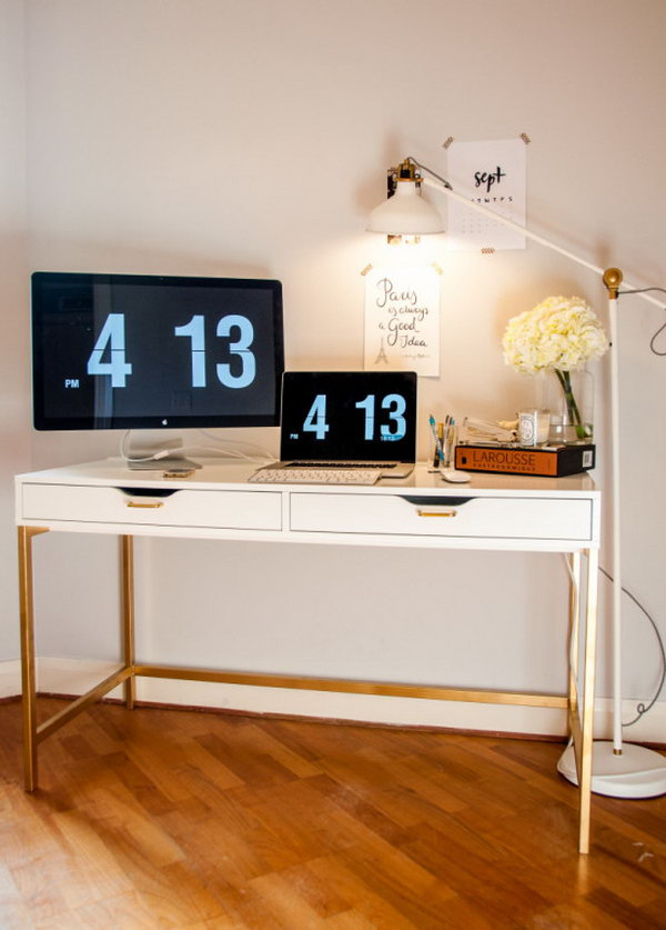 The Midas Touch Desk Hack A Standard White Ikea Was Transformed Using Gold