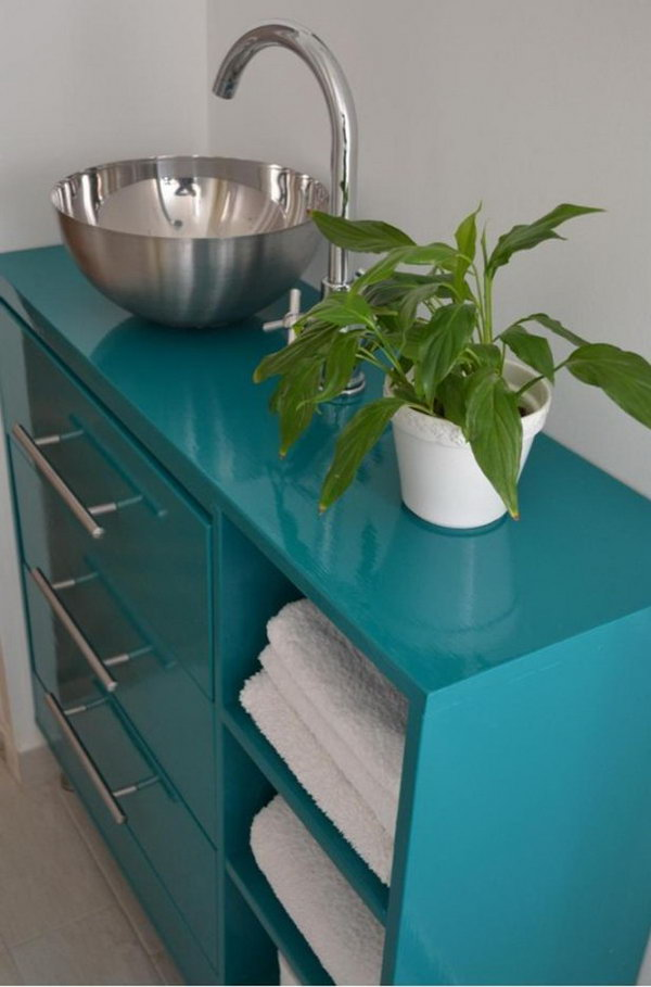 Rast Bathroom Vanity Made from Rast Dresser and a Salad Bowl.