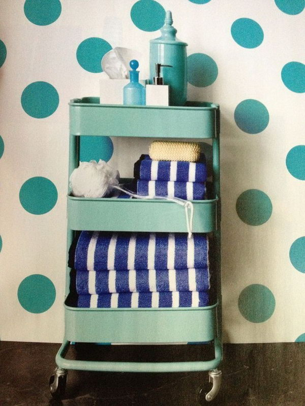 Plastic Kitchen Cart as a Storage of Bathroom Items.