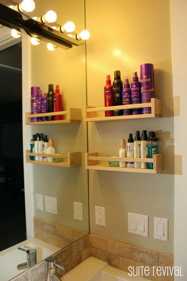 Using Toiletry Spice Racks to Store Hair products, lotions, etc in the Bathroom.