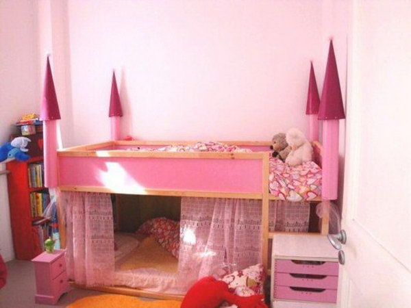 convert an ikea kura bed to a princess castle