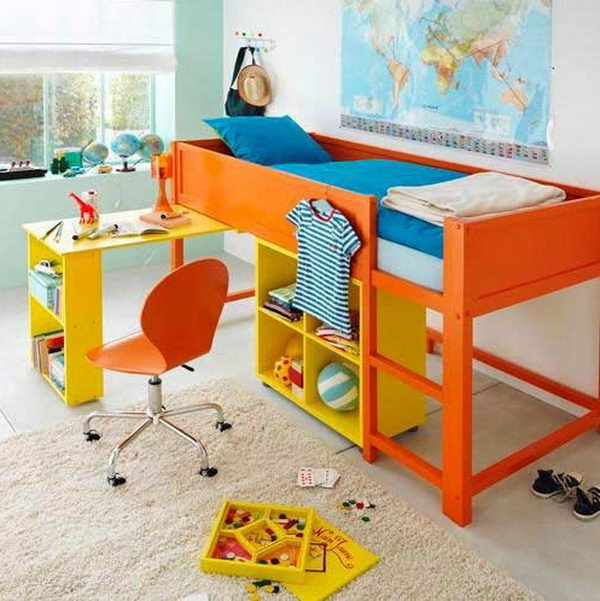 20 awesome ikea hacks for kids beds hative - Bed with desk ikea ...
