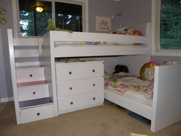 Ikea Kinderbett Was Mitwächst ~ Malm Toddler Bed under Malm inspired Bunk This bunk bed was made with