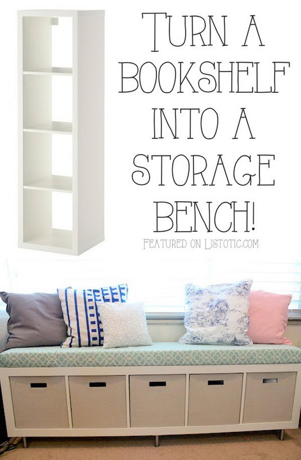 an Ikea Expedit Shelving Unit into a Storage BenchSee more details