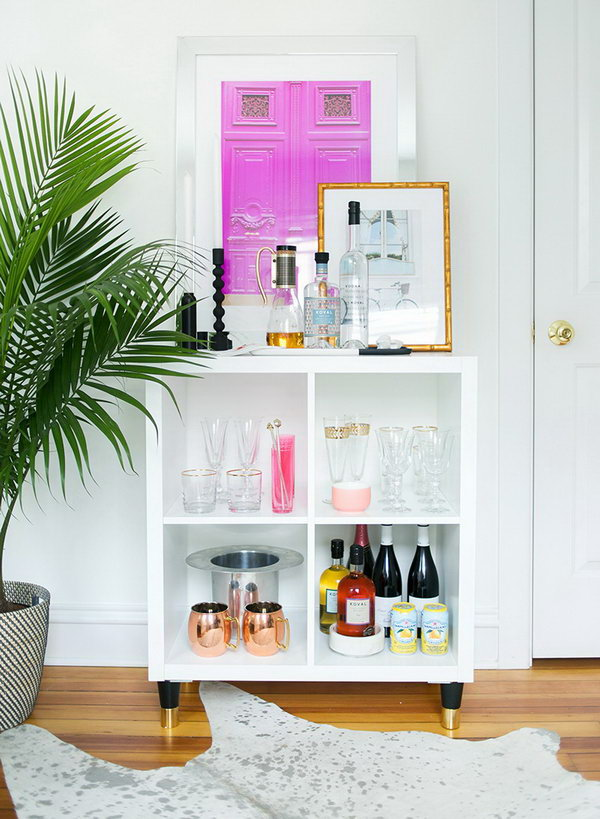 IKEA Kallax as a Mini Home Bar. See more details