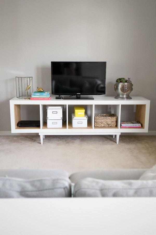 Etagere Ikea Kallax Occasion ~ Meuble Tv Ikea Kallax  Ikea hack kallax shelving unit to tv stand or