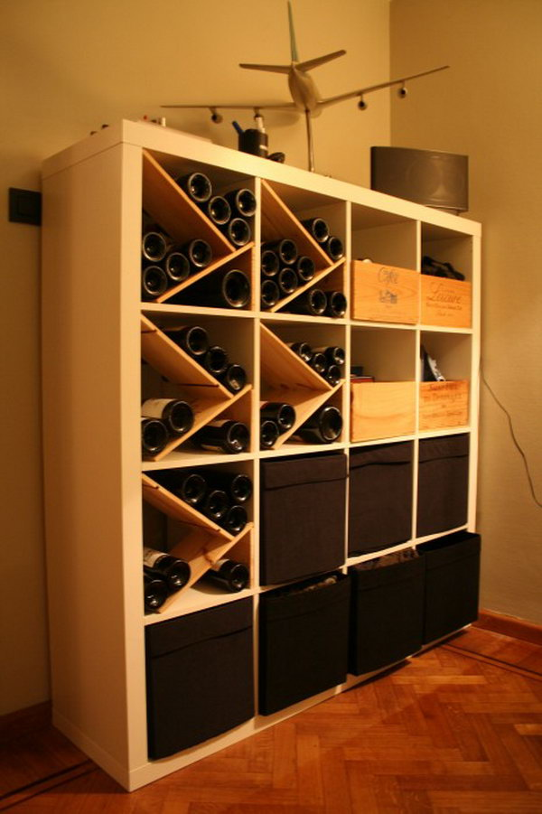 25 ikea kallax or expedit shelf hacks hative for Wine shelves ikea