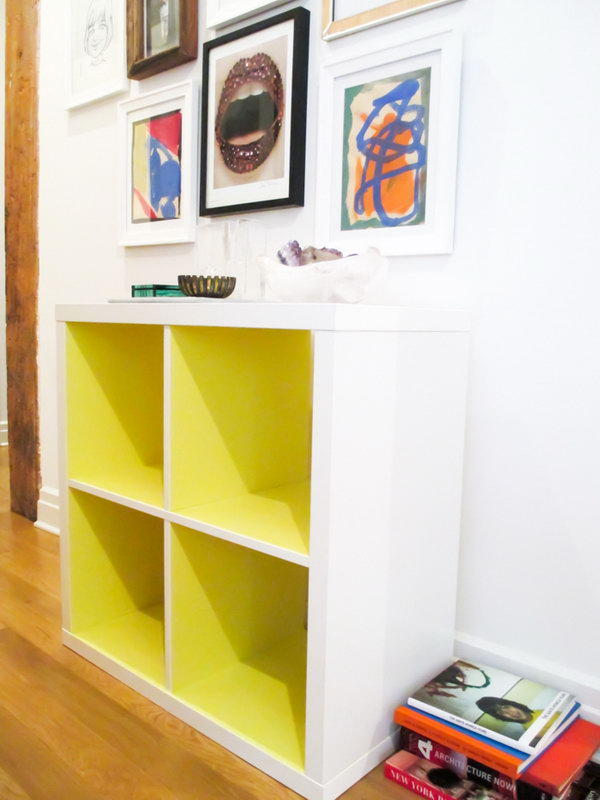 DIY Kallax Shelf in Neon Yellow. Super easy to use contact paper to upgrade for your simple Kallax pieces from IKEA.  Look at this one in Neon yellow. Isn't it just the amazing? See the full tutorial