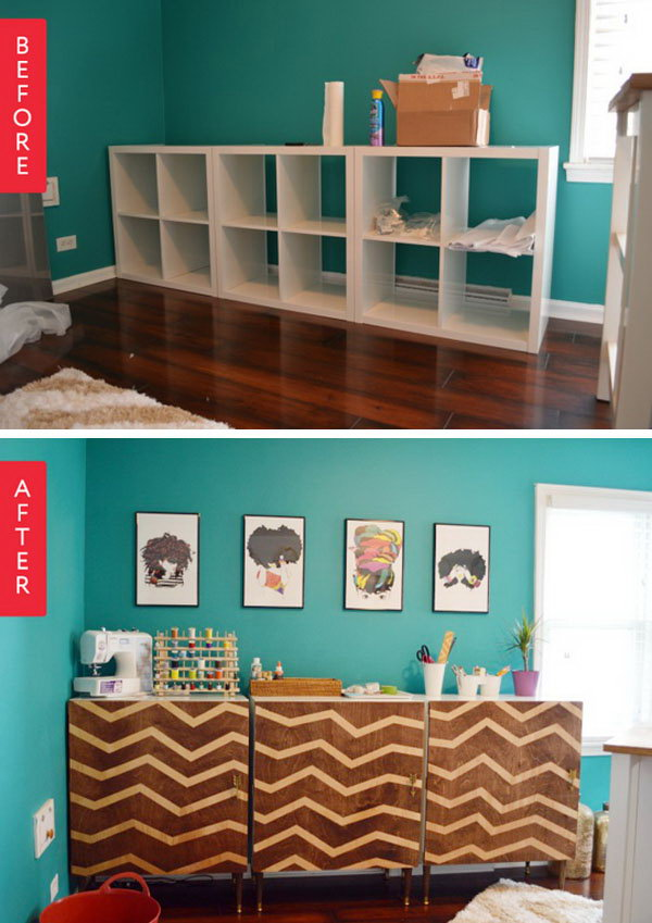 Before & After: IKEA Kallax to Personalized Zig Zag Modular Credenza. Get the full tutorial