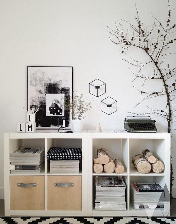 Transform the plain white Kallax shelving units into storage units with natural elements.