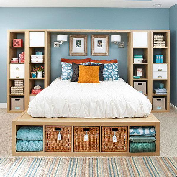 Kallax Shelving Units come into Master Bedroom Storage.