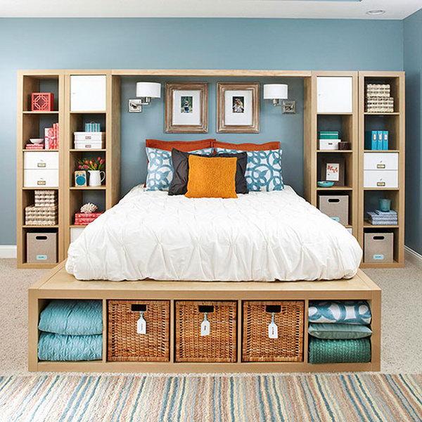 Kallax Shelving Units come into Master Bedroom Storage.