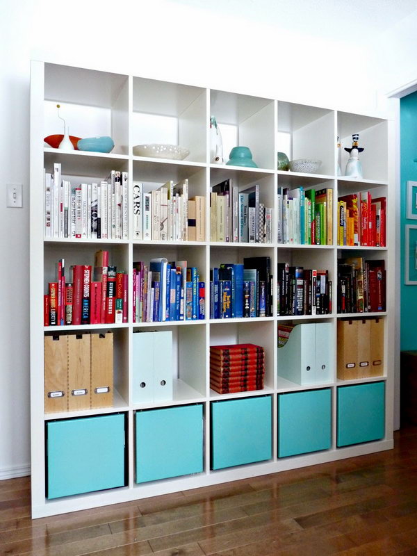 25 ikea kallax or expedit shelf hacks hative. Black Bedroom Furniture Sets. Home Design Ideas
