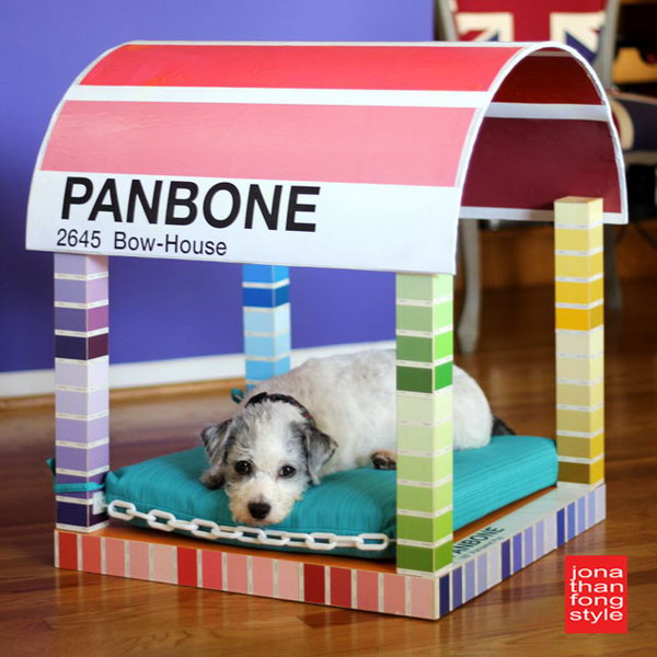 Paint Chip Dog Bed. We can see potential projects from the different angle. Look at this adorable and interesting one. Just turning an IKEA LACK table upside down, adding a half sonotube as the canopy of the dog bed and decorating with some plastic chains and beautiful paper, a clever and colorful four poster paint chip dog bed is born. Your beloved pet will love it very much. Check the step by step tutorial